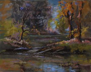 Pastel Painting of Alabama pond by Toska Courbron