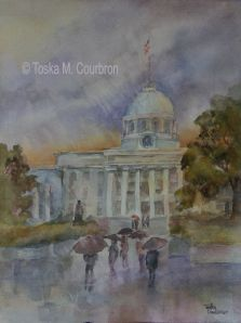 Rainy Scene at Alabama State Capitol