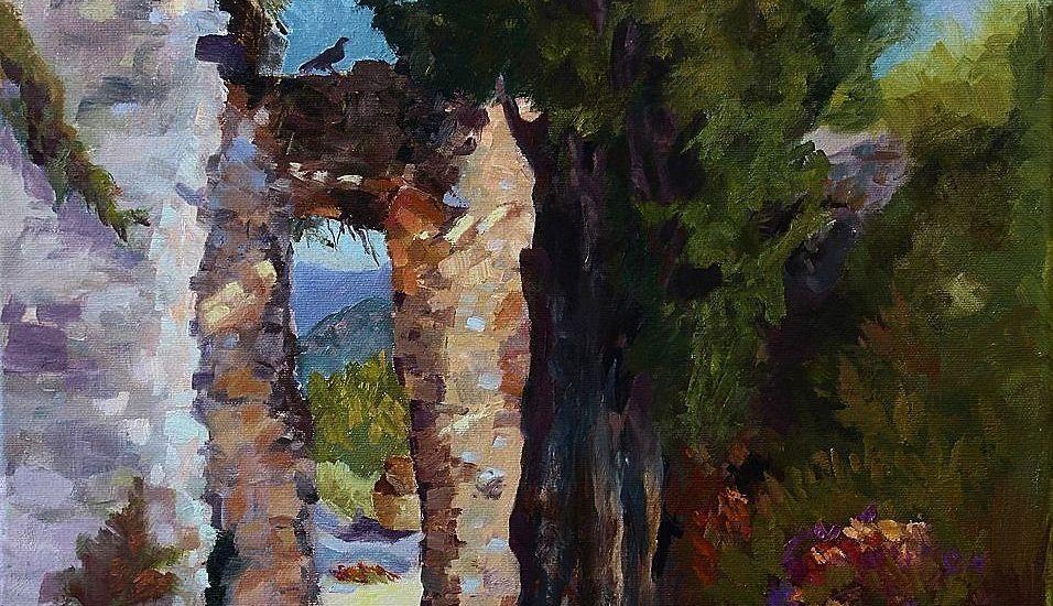 Plein Air oil painting Villa Rufolo--Ravello, Italy