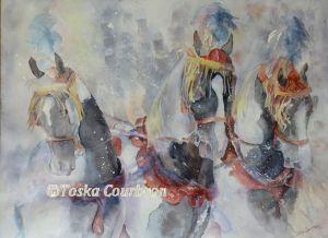 Pinto horses winter parade watercolor