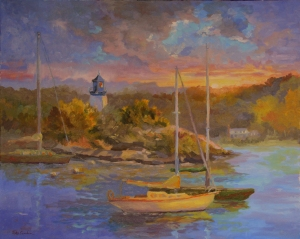 "#1093 ""Winter Harbor Maine"" oil on canvas $700"